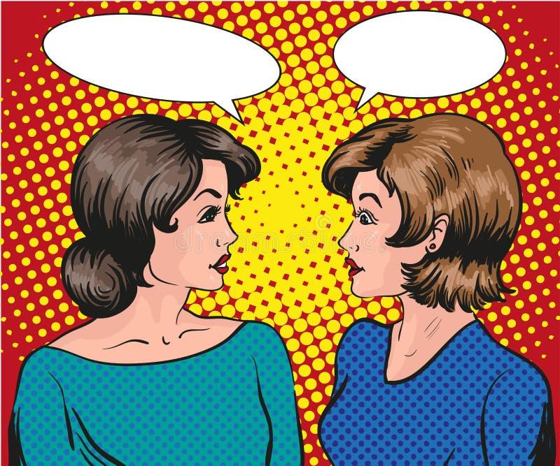 流行艺术减速火箭的可笑的传染媒介例证 互相两名妇女谈话 泡影图象人员演讲联系的向量 皇族释放例证