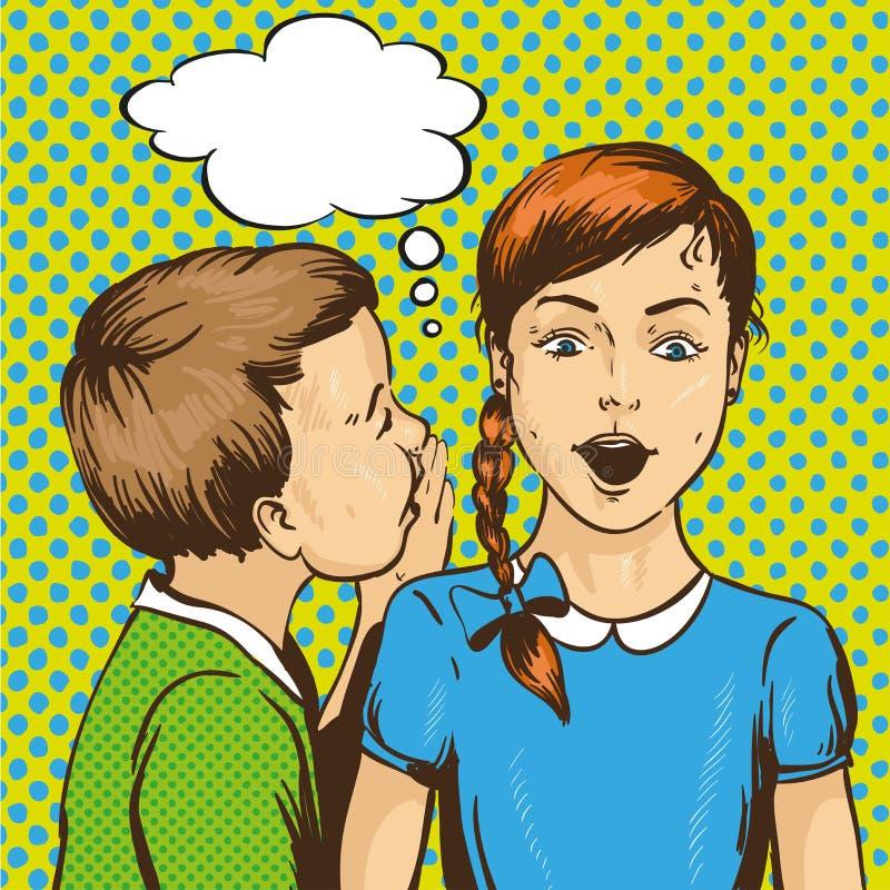 流行艺术减速火箭的可笑的传染媒介例证 哄骗耳语的闲话或秘密给他的朋友 儿童谈话 演讲 向量例证