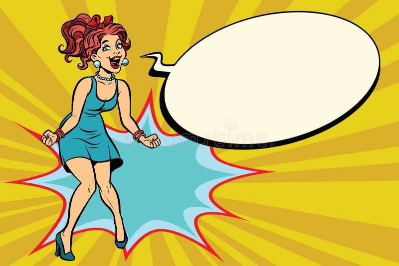 流行艺术减速火箭的妇女呼喊充满喜悦,正面情感 向量例证