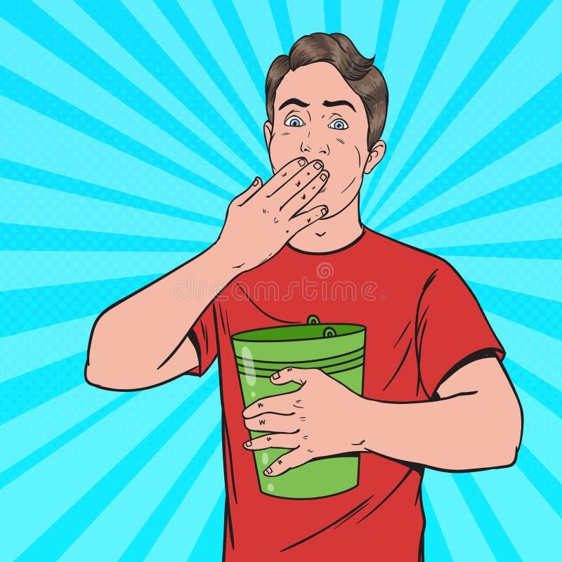 流行艺术呕吐的人 病的人投掷  不健康的感觉 向量例证