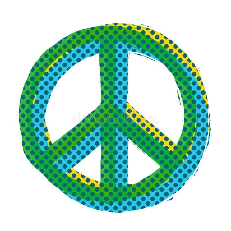 流行艺术和平标志 库存例证