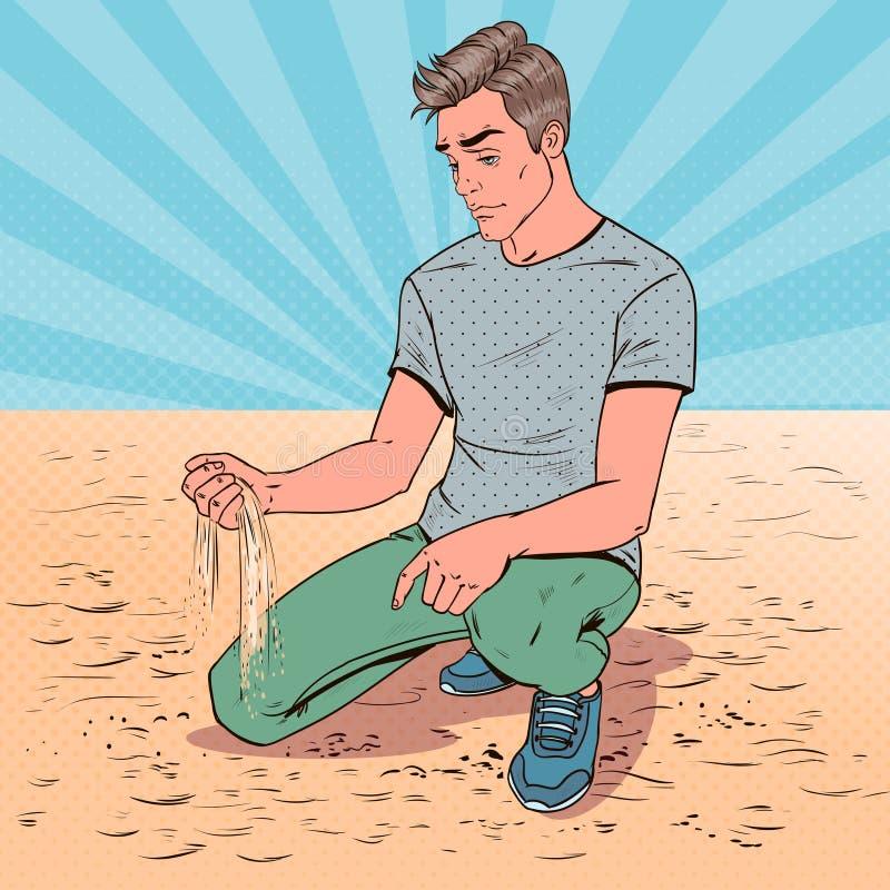 流行艺术哀伤的年轻人坐海滩 伤心人 表情 负情感 库存例证