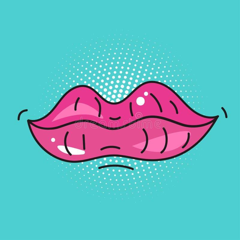 流行艺术嘴唇 库存例证