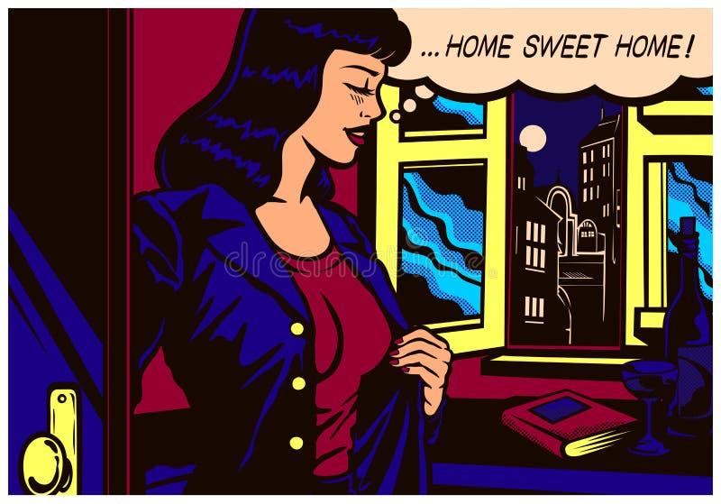 流行艺术回来在家在工作以后的漫画书妇女对她的公寓传染媒介例证 图库摄影