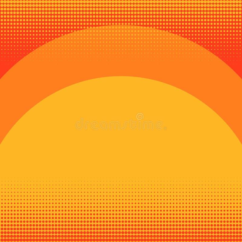流行艺术在红颜色的背景桔子 日落、彩虹和树荫线 漫画样式的模仿 向量 向量例证