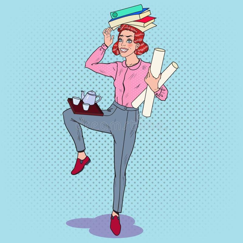 流行艺术多任务女商人在工作 超载办公室秘书 向量例证
