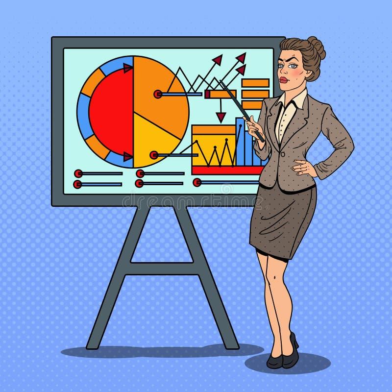流行艺术女商人用提出企业图的尖棍子 库存例证