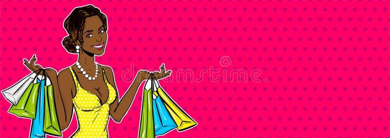 流行艺术女孩销售购物袋 向量例证