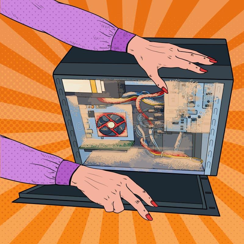 流行艺术妇女在个人计算机系统单元的清洁尘土 向量例证