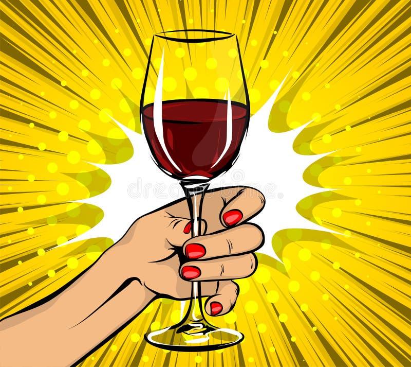 流行艺术妇女手举行红葡萄酒玻璃葡萄酒 皇族释放例证