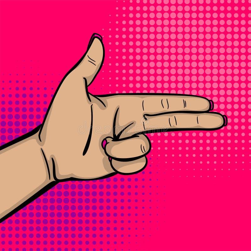 流行艺术妇女手展示轰隆枪手指 皇族释放例证