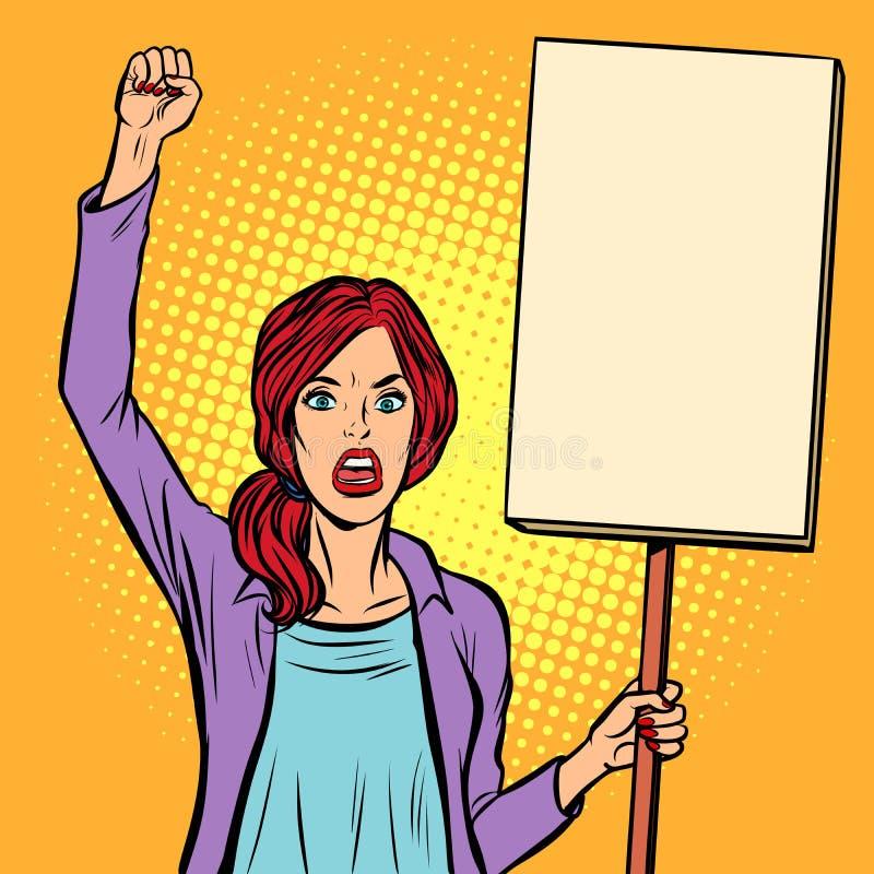 流行艺术妇女抗议与海报 Th的政治积极分子 皇族释放例证