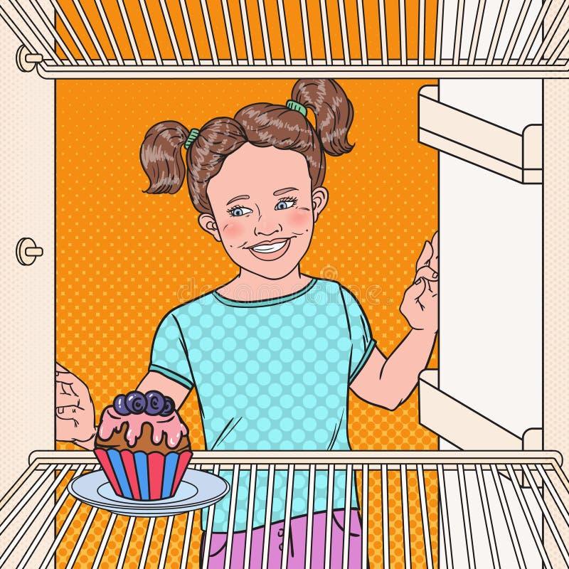 流行艺术小女孩看见在冰箱的鲜美蛋糕 吃甜食物的孩子 向量例证