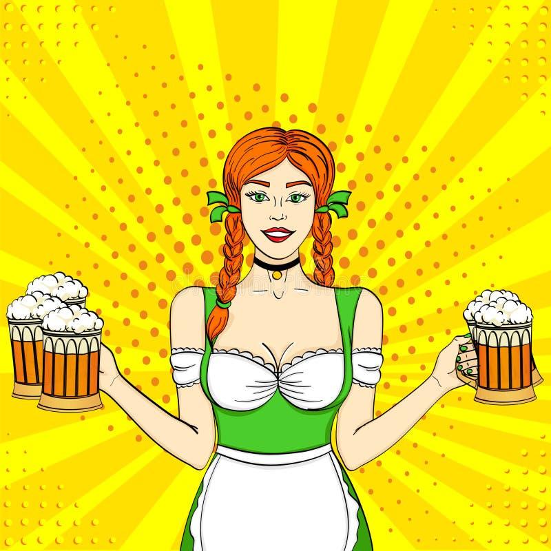 流行艺术德国女孩女服务员运载五个啤酒杯 概念oktoberfest漫画书样式模仿 库存例证