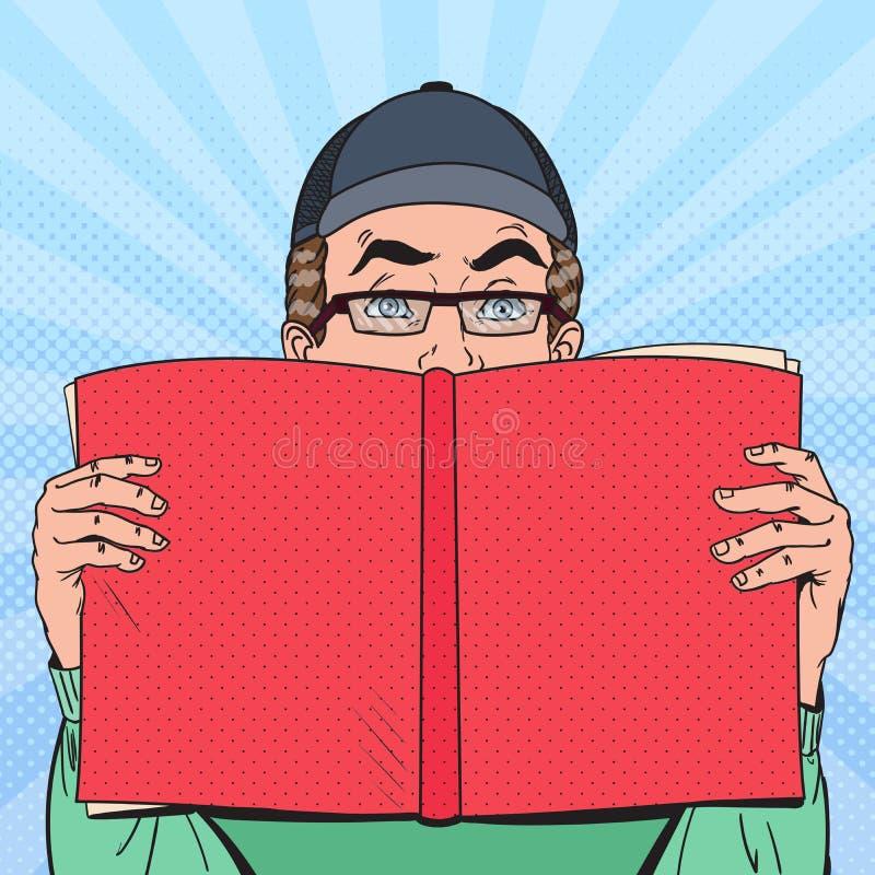 流行艺术惊奇的人阅读书 培训的概念 库存例证