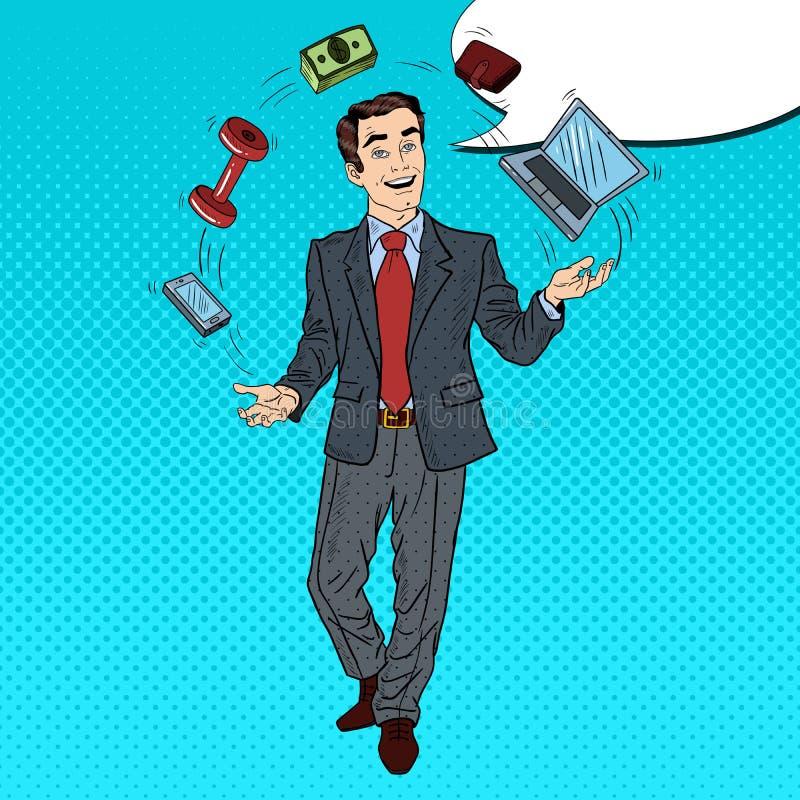 流行艺术成功的商人玩杂耍的计算机、电话和金钱 库存例证