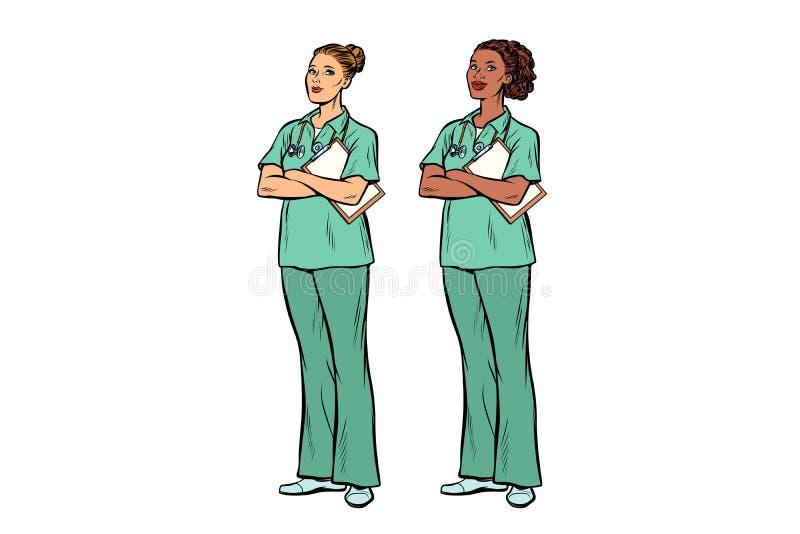 流行艺术护士白种人和非洲人 医学和健康 向量例证