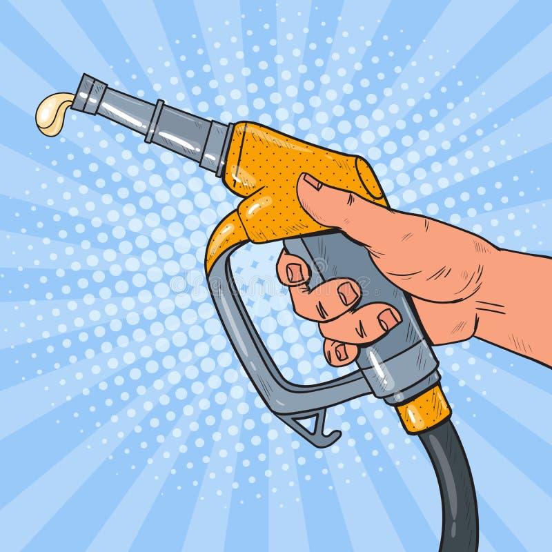 流行艺术拿着换装燃料枪的人手 汽车结转您的加油站 向量例证