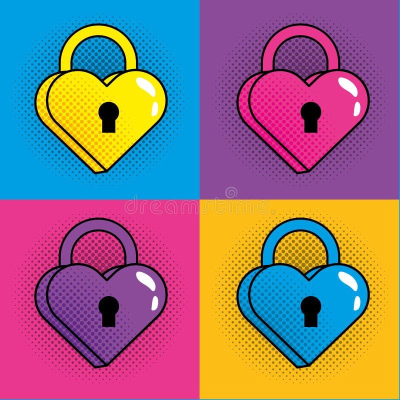 流行艺术挂锁心脏五颜六色的框架 向量例证