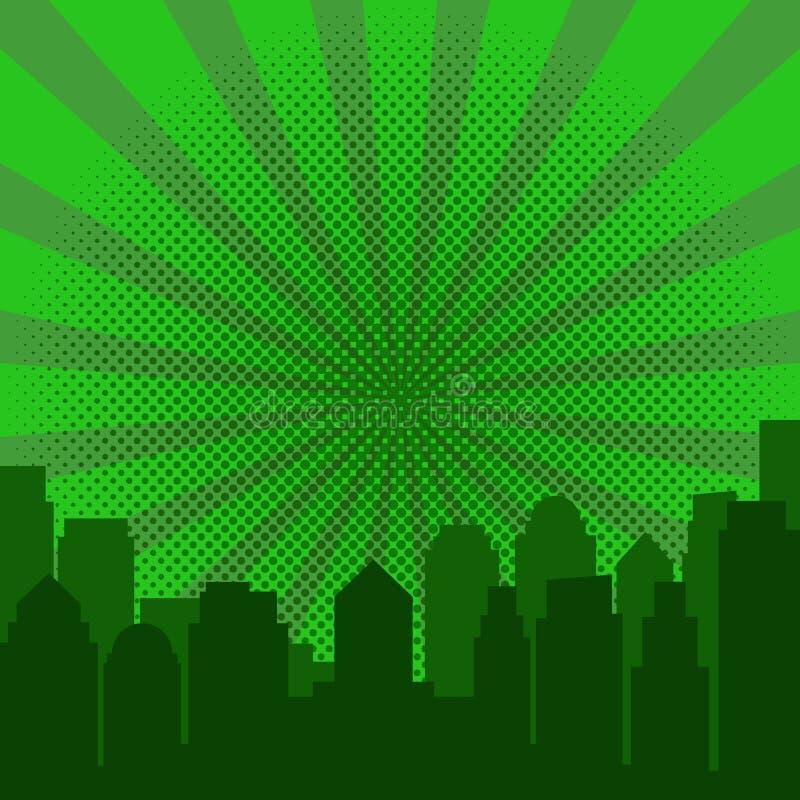流行艺术日出和现代剪影城市 向量例证