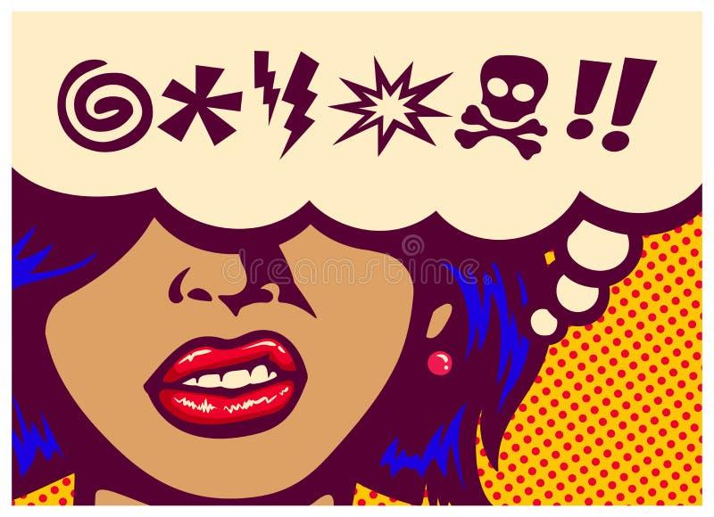 流行艺术样式漫画镶板恼怒的有讲话泡影的妇女研的牙并且脏话标志传染媒介例证 库存照片