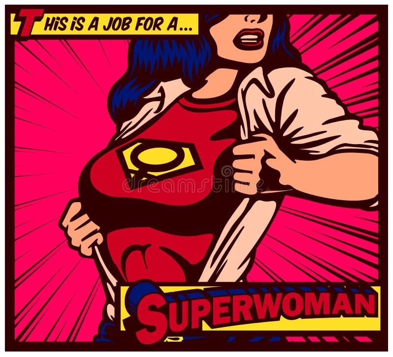 流行艺术漫画书女性superheroine撕毁的衬衣和佩带的超级英雄服装传染媒介例证 皇族释放例证
