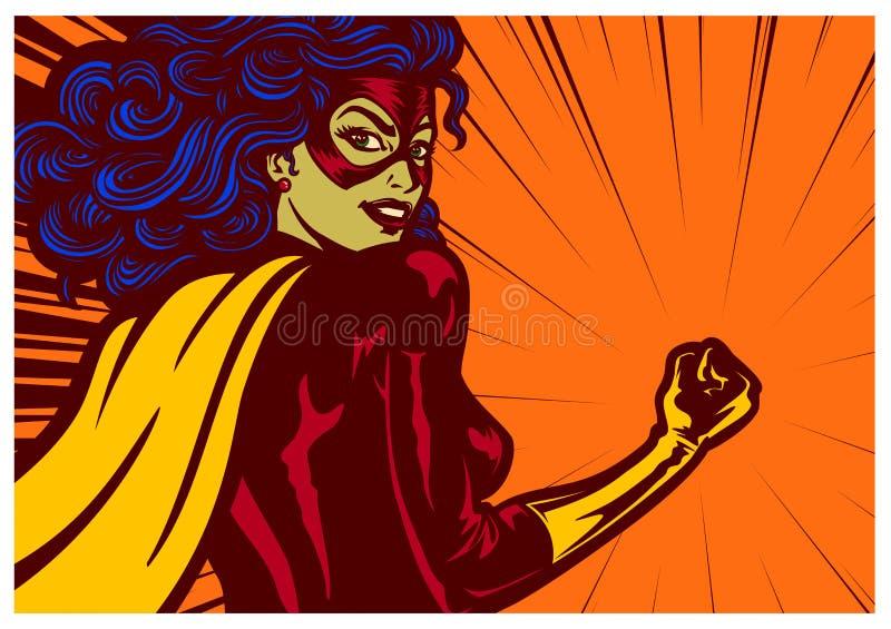 流行艺术漫画称呼有紧握拳头传染媒介例证的超级女英雄妇女 免版税库存图片