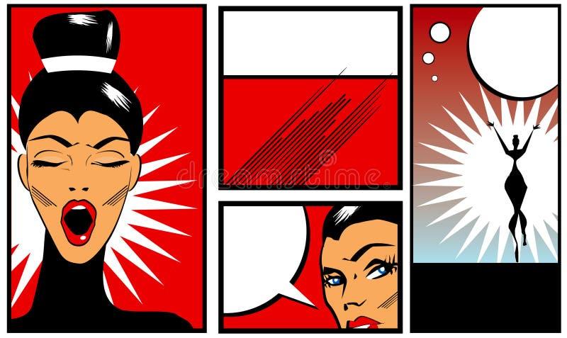 流行艺术漫画书与美丽的妇女的样式横幅黑b的 皇族释放例证