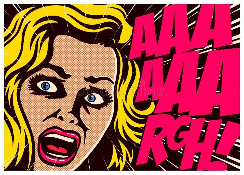 流行艺术漫画书妇女尖叫在恐惧例证 免版税库存照片