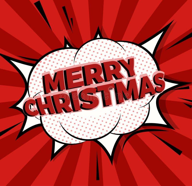 流行艺术漫画象圣诞快乐 讲话泡影传染媒介例证 库存例证
