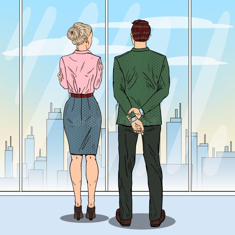 流行艺术看城市的商人通过窗口在办公室 向量例证