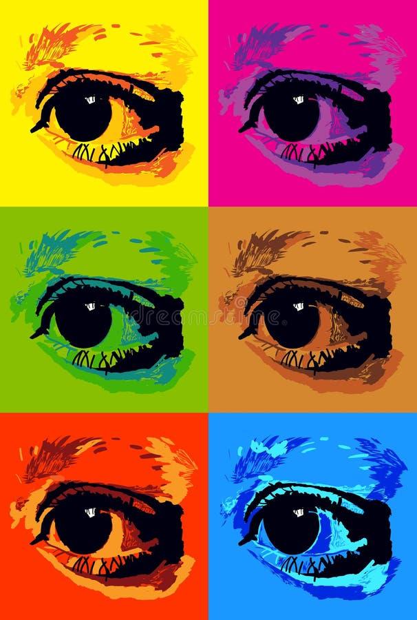 流行艺术眼睛 向量例证