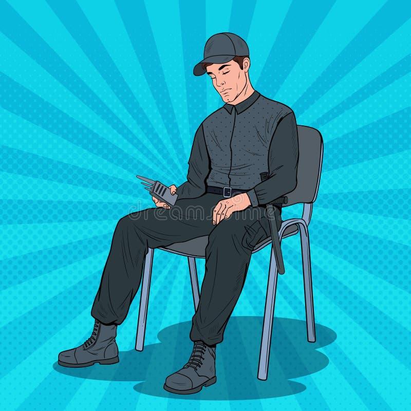 流行艺术睡觉在工作的卫兵人 基于扶手椅子的安全工作者在工作场所 皇族释放例证