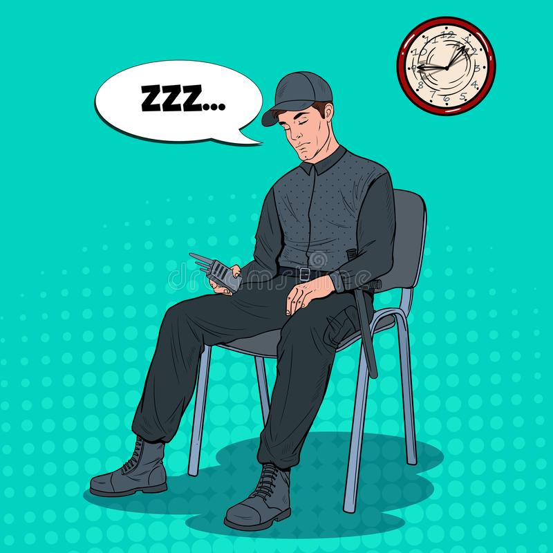 流行艺术睡觉在工作的卫兵人 基于扶手椅子的安全工作者在工作场所 库存例证