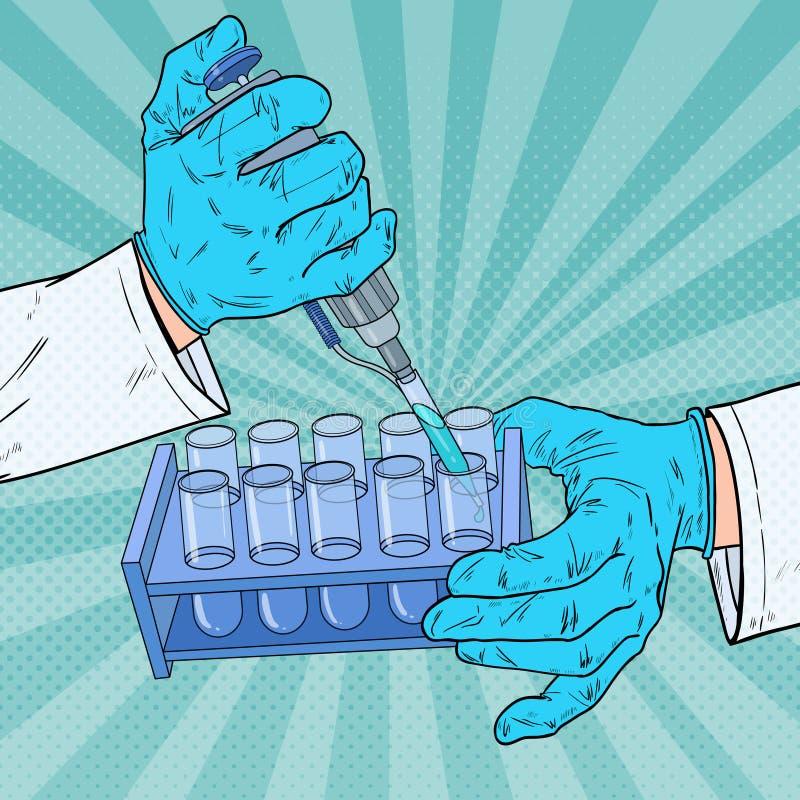 流行艺术科学家与医疗设备一起使用 化学分析 实验室试验管 科学研究概念 向量例证