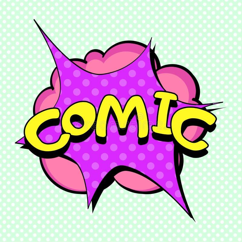 流行艺术绿色背景,文本泡影 蒸汽爆炸,与题字漫画的一朵云彩 仿制漫画 库存例证