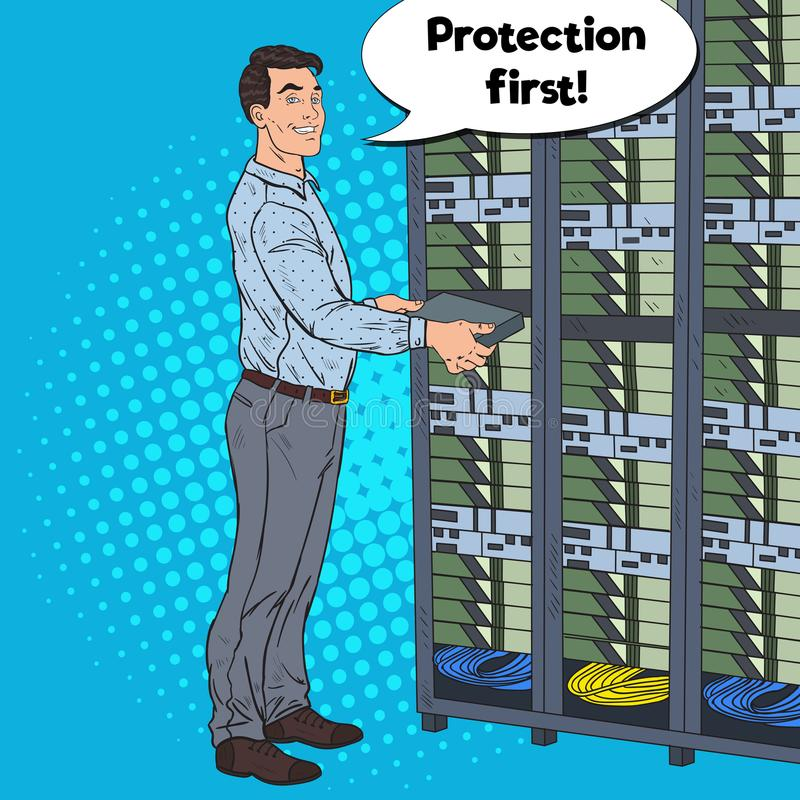 流行艺术网络工程师在硬件数据中心 Technicianin修造服务器数据库 向量例证