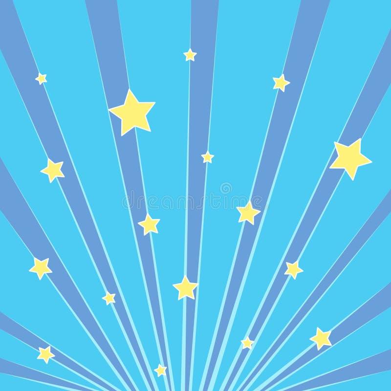 流行艺术背景蓝色 太阳,与黄色星的天空的光芒 仿制漫画样式 向量 向量例证