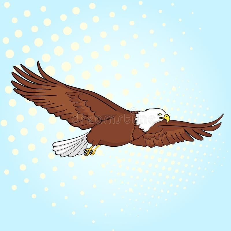 流行艺术背景鸟老鹰,猎鹰 一个仿制减速火箭的可笑的样式的传染媒介 皇族释放例证