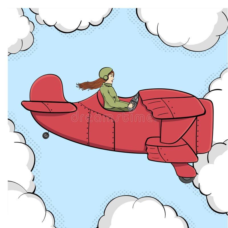 流行艺术背景,漫画的模仿 军事女孩在老飞机上飞行 覆盖天空 向量 库存例证