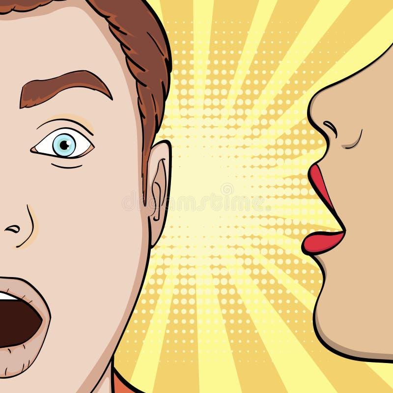 流行艺术背景,漫画的模仿 女孩在他的耳朵人耳语,诱惑一个人,秘密 向量 库存例证