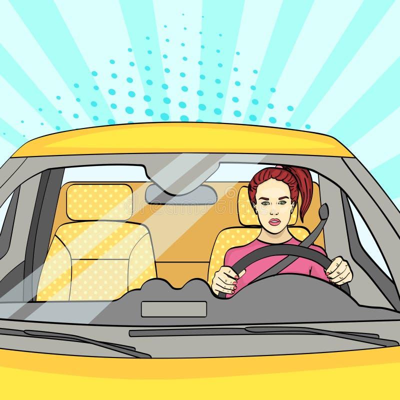 流行艺术背景,阳光蓝色 轮子的,汽车妇女 向量 皇族释放例证