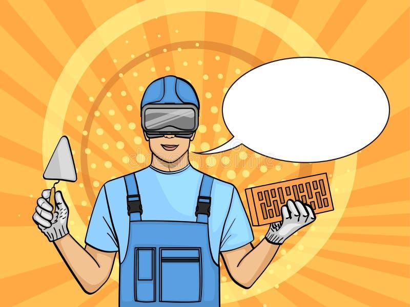 流行艺术背景 一个人是学会的建造者在玻璃 训练在互联网上 减慢工作,做自由职业者 减速火箭 库存例证
