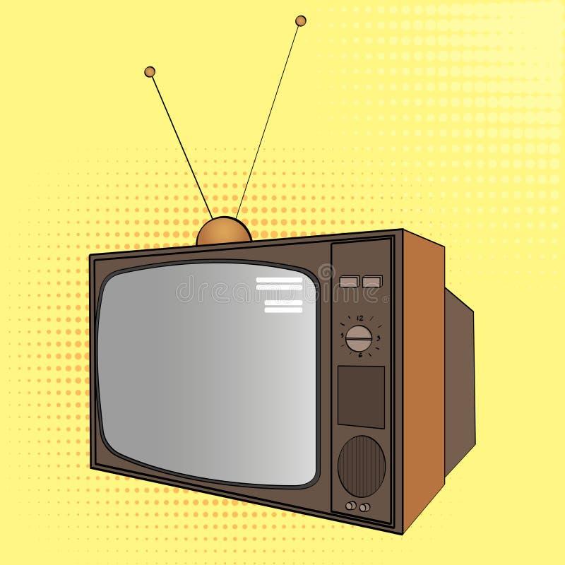 流行艺术背景 电子设备,老电视 漫画样式的模仿 向量 库存例证