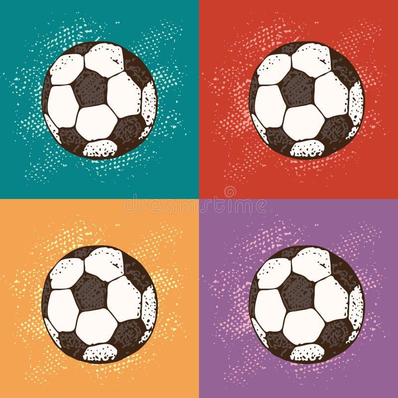 流行艺术足球的传染媒介例证 动画片样式背景 橄榄球客栈的图表纹理 向量例证