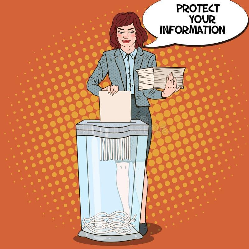 流行艺术销毁纸张文件的女商人 向量例证