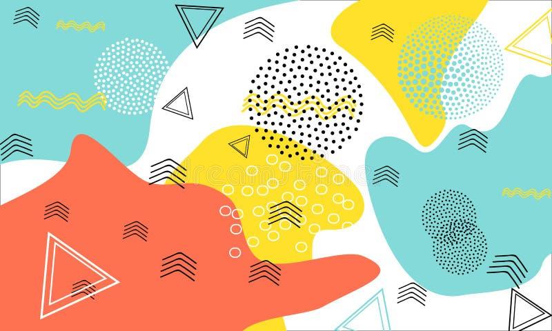 流行艺术颜色背景 几何形状的孟菲斯样式组织和明信片的 也corel凹道例证向量 行家样式80s-90s 库存例证