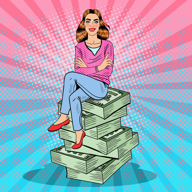 流行艺术年轻富有的妇女坐堆金钱 库存例证