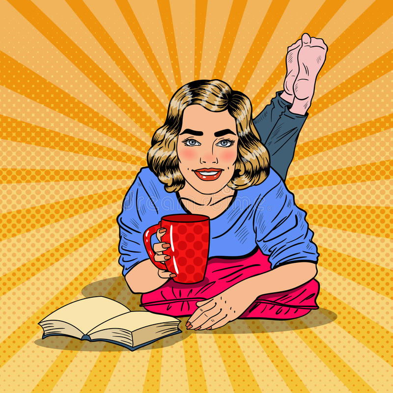 流行艺术年轻微笑的妇女饮用的咖啡和阅读书 向量例证