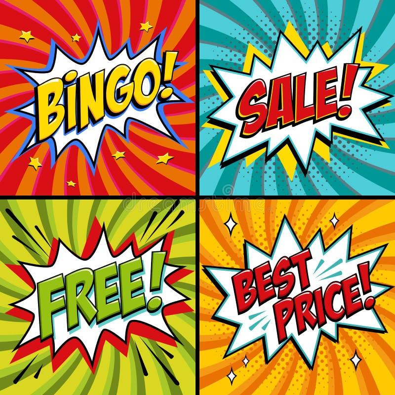 流行音乐艺术网横幅 堆 自由 销售额 最佳的价格 抽奖比赛背景 漫画流行音乐艺术样式在红色的轰隆形状 向量例证